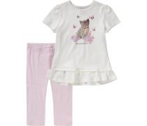 Schlafanzug für Mädchen rosa / weiß