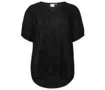 In Falten gelegte Bluse mit 2/4 Ärmeln schwarz