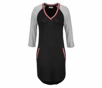 Jerseykleid grau / rot / schwarz