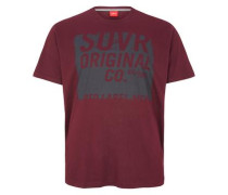 T-Shirt mit Unicolor-Print graphit / kirschrot