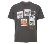T-Shirt mit Print-Collage grau