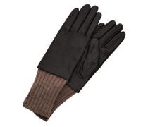 Leder-Handschuhe braun / schwarz