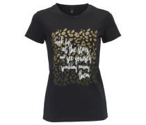 Druckshirt mit Schriftzug gold / schwarz / weiß
