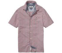 Hemd 'thdm Basic REG Gnghm Shirt S/S 49' dunkelblau / cranberry / weiß