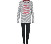 Schlafanzug 'Abril' schwarz / weiß