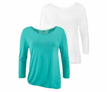 Shirts (2 Stück) türkis / weiß
