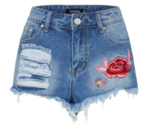 Jeans-Shorts mit Stickerei blue denim / rot