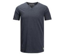 Split-Neck T-Shirt ultramarinblau / anthrazit