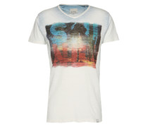 T-Shirt 'Slub print tee' weiß