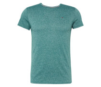 T-Shirt in Melange-Design petrol