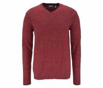 V-Ausschnitt-Pullover rotmeliert