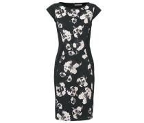Bodyform-Etuikleid mit Blumen-Druck creme / dunkelgrau / schwarz