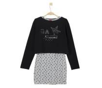 2-in-1-Sweater mit Kleid grau / schwarz