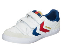 Stadil Leather Low Sneaker Kinder blau / gold / rot / weiß