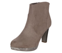 Ankle Boot in Veloursleder-Optik taupe