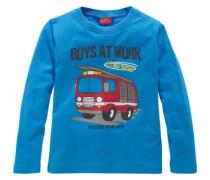 Langarmshirt mit Feuerwehrauto himmelblau