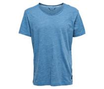 Kurzärmeliges Basic T-Shirt blau