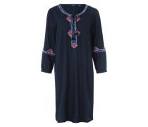 Kleid mit Stickereien navy
