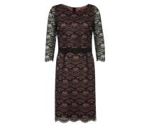 Kleid mit Spitze rosa / schwarz