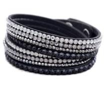 Wickelarmband mit Glassteinen schwarz