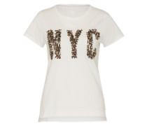 Shirt mit Pailetten 'Nyc' weiß