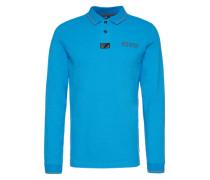 Poloshirt mit Kragenstickerei blau