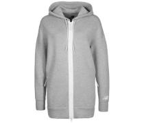 'Style Fleece' Kapuzenjacke Damen graumeliert / weiß