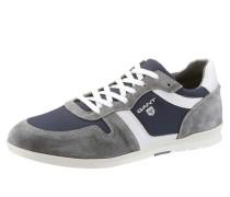 Sneaker im Materilmix blau / grau