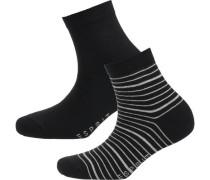 2 Paar Socken hellgrau / schwarz