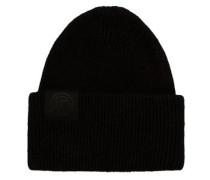 Dicke locker gestrickte Woll-Mütze schwarz