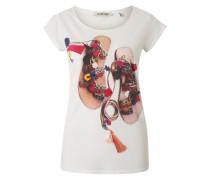 T-Shirt mit Frontprint beige / rot / weiß