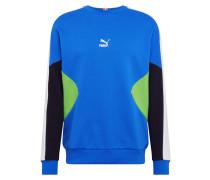 Sweatshirt blau / neongrün / schwarz