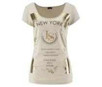 Shirt mit Glanzprint beige / gold