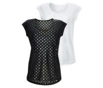 Lascana T-Shirt (2 Stück) schwarz / naturweiß