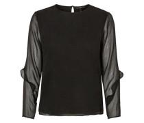 Rüschenärmel-Bluse schwarz