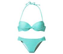 Push-Up-Bikini türkis / weiß