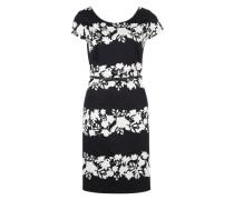 Geblümtes Kleid aus Baumwollmix schwarz