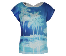 T-Shirt mit Allover Insel-Print blau