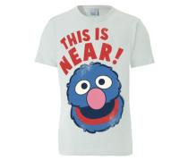 """T-Shirt """"Grobi Near/Far"""" rauchblau / pink / rot / weiß"""