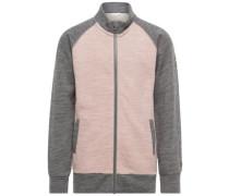 Strickjacke Woll- grau / graumeliert / rosa