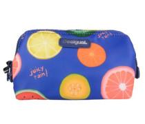 'nec Ligero Fruits' Kosmetiktasche 17 cm blau / hellgelb / grün / dunkelorange