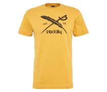 T-Shirt mit Logo-Print 'Daily Flag' dunkelblau / senf