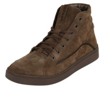 Sneaker High in Veloursleder braun