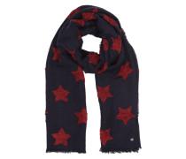 Schal mit Sternen navy / blutrot