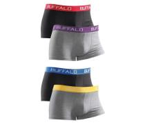 Baumwoll-Boxer (4 Stck.) blau / gelb / graumeliert / dunkellila / rot / schwarz