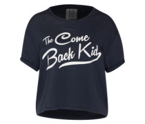 T-Shirt 'The Come Back Kid' dunkelblau / schwarz / weiß