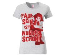 """T-Shirt """"Pippi Langstrumpf: Faul sein ist..."""" rot / weißmeliert"""