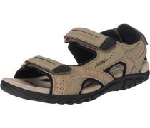 Sandale mit Klettverschluss beige / schwarz