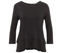 Shirt mit Volant-Saum schwarz