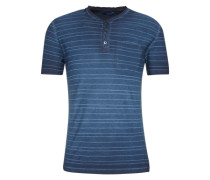 T-Shirt 'striped henley with treatment' blau